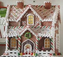 12.25 GINGERBREAD LIGHTED HOUSE Clay Dough RAZ CHRISTMAS DECORATION 4016095 NEW