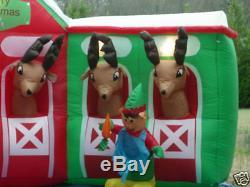 13' Santa & Elves Feeding Reindeer Stable Lighted Christmas Airblown Inflatable