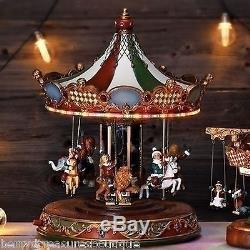 16.5 MUSICAL ROTATING CAROUSEL LED Lights CHILDREN RIDING ANIMALS Christmas