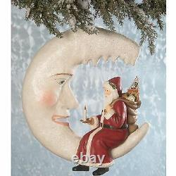 17 Bethany Lowe Santa Crescent Icicle Moon Retro Vntg Christmas Figure Decor