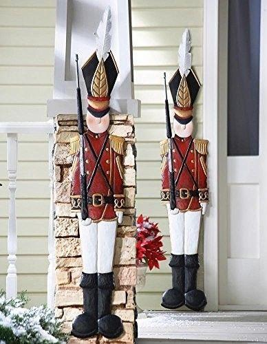2 Pieces Set Deep Red Jacket Metal Toy Soldiers Nutcracker Christmas Spirit Holi