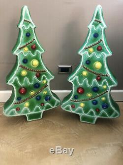 2 Union Gingerbread Blow Mold Green Christmas Trees