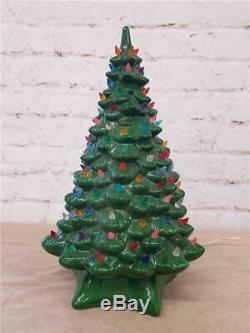 20 Ceramic Christmas Tree Green Multicolored lights Up