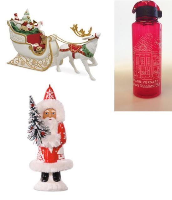 2017 Hallmark Koc Event Porcelain Santa's Sleigh Ornament + Old World Santa + 1