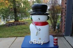 27 Snowman Drainage Red Blowmold Light Up Outdoor Plastic Xmas Yard Lawn Decor