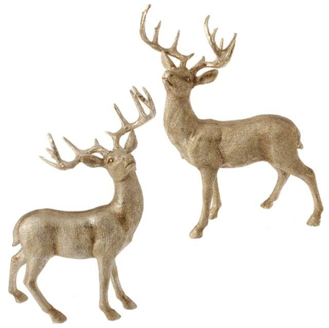3401601 Raz 21 Deer Reindeer Set/2 Gold-tone Christmas Decoration Mantel Table