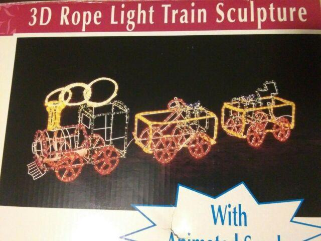 3d Rope Light Train Sculpture Animated Light Up Outdoor Christmas Decoration