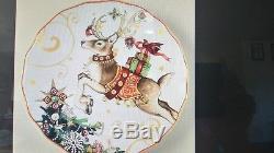 4 Williams Sonoma Twas night before Christmas salad plates Reindeer New