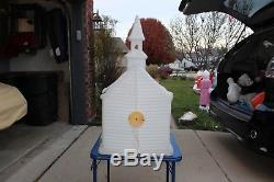 40 Church Stained Glass Blow Mold Light Outdoor Plastic Xmas Vintage Decor Vtg