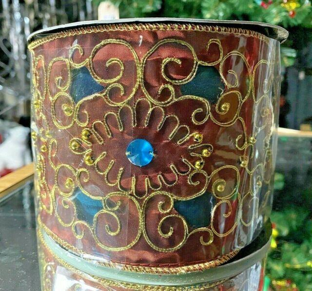 4x10 Yards Gold Cutout Jewel Ribbon Katherine's 08-80054 Chocolate & Turquoise