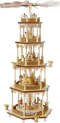 5 Level Nativity German Christmas Pyramid Handcrafted in Erzgebirge Germany New