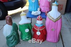7 Pcs. Blowmold Nativity Set Light Up Outdoor Plastic Xmas Yard Lawn Decor Vtg