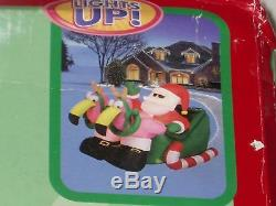 7' RARE Gemmy Lighted Christmas Santa & Flamingo Reindeer Airblown Inflatable