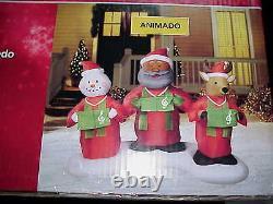 7 ft Lighted Animated Gospel Choir Airblown Inflatable Trio Santa reindeer snow