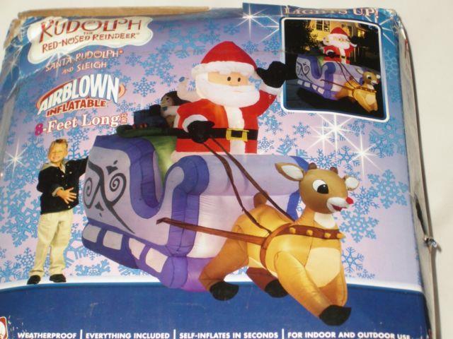 8' Rare Gemmy Lighted Christmas Santa Reindeer Purplesleigh Airblown Inflatable
