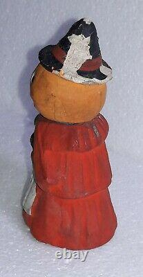 Antique German Halloween Candy Container JACK-O-LANTERN Witch Body Black Cat