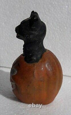Antique German Halloween JACK-O-LANTERN Black Cat Candy Container (Top Only)