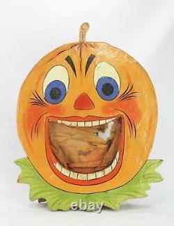 Antique German Rare Painted Wood Halloween Pumpkin Bean Bag Toss Game ca1910