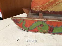 Antique Litho On Wood Santa On Sleigh With Reindeer German Bliss Type Toy Decor