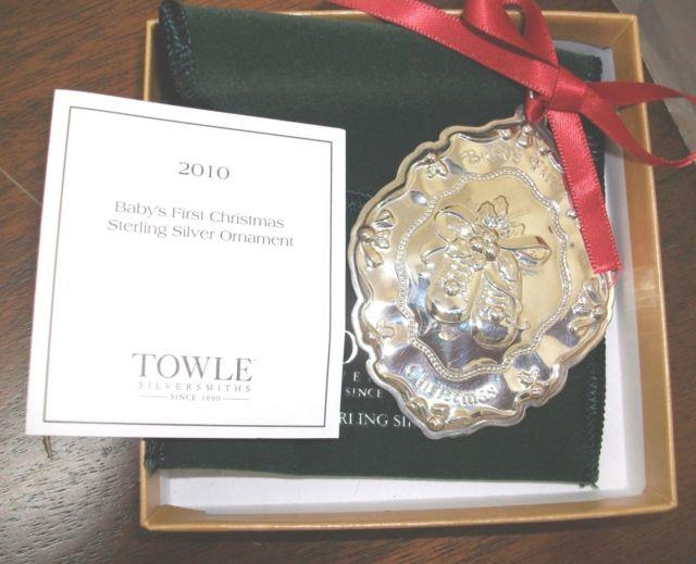 Baby's First Christmas 2010 Ornament/towle Sterling/baby Shoes/nib/can Engrave