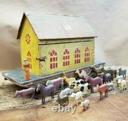 Beautiful Vintage Antique 1890's German Noah's Ark with Animals