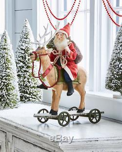 Bethany Lowe Folk Art Vintage Style Santa Riding Reindeer Figure