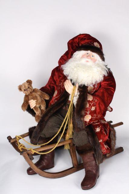 Bethany Lowe Original Christmas Father Christmas On Antique Sled B1217