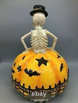 Blue Sky Clayworks Halloween Skeleton Pumpkin Cemetery LARGE Candle Luminary 18