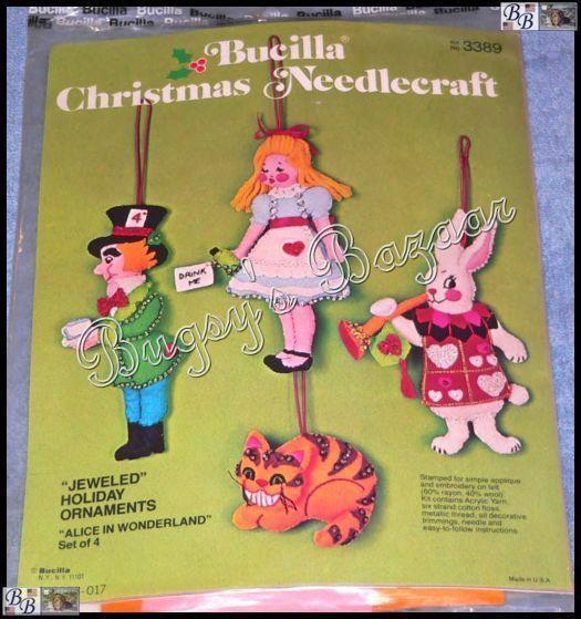 Bucilla 4 Alice In Wonderland Ornaments Felt Christmas Kit Mad Hatter 3389