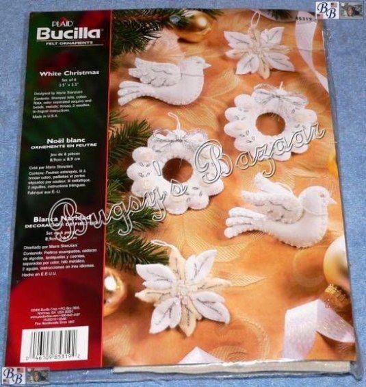 Bucilla Set Of 6 White Christmas Ornaments Felt Applique Christmas Kit 85319