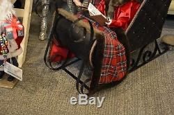 Caroler family in Sleigh S4 tan & red plaid Victorian costume trm 3500750 NEW