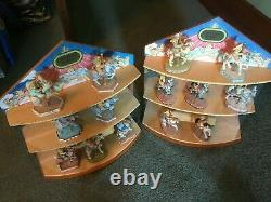 Cherished Teddies Set of 14 carousel bears with two display stands and RARE Bear