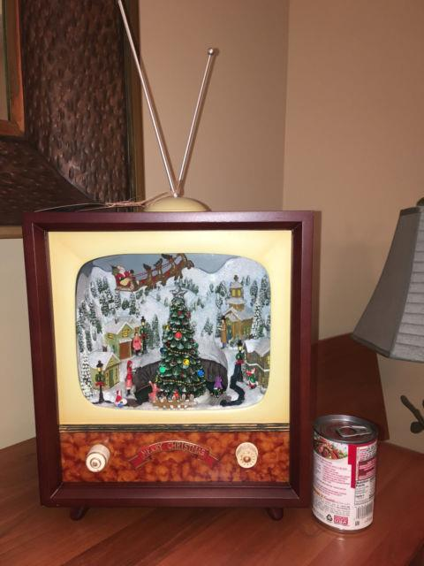 Chestnut Lane Console Tv Christmas Diorama Animated Music Lights 13h New