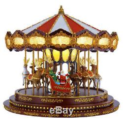 Christmas Deluxe Carousel Animated LED Light Show Plays 20 Christmas Songs New