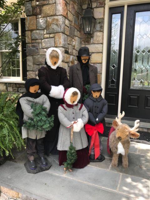 Christmas Holiday Carolers Display With Pet Reindeer Life Size Family