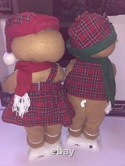 Christmas International Animated Mr & Mrs Gingerbread Man Woman Plaid Clothes