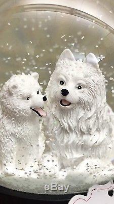 Ciao Ciao Eskimo Samoyed Spitz Mom/Baby Puppy Snow Globe NWT