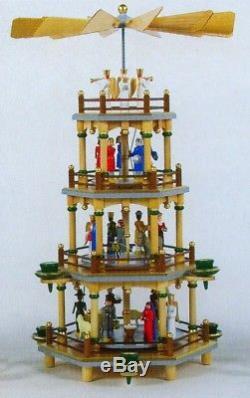 Colorful Nativity German Christmas Pyramid 4-tier