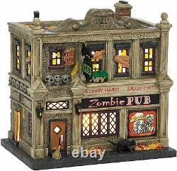 Department 56 Snow Village Halloween The Zombie Pub Lit House 4036594 New RARE