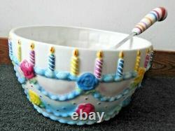 Dept 56 Glitterville Birthday Punch Bowl & Ladle Ceramic Celebration Party