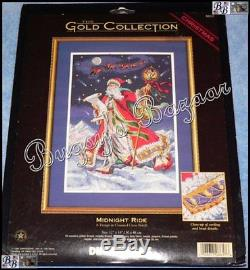 Dimensions Gold MIDNIGHT RIDE Christmas Counted Cross Stitch Picture Kit 1999