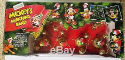 Disney Mr. Christmas 1992 Mickey's Marching Band Musical Ornament Set of 8