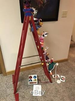 Disney Mr Christmas Mickey's Tree Trimmers Animated 4' Ladder EUC