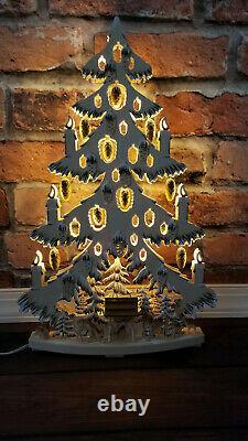Doppelschwibbogen Ratags Holzdesign, Deer at the Manger, Fir Tree, Large NEW