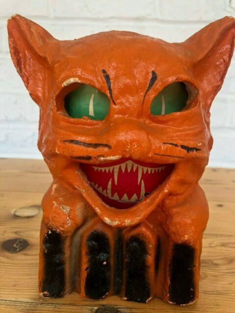 Early Vintage Cat Jack-o-lantern Paper Mache Halloween With Orig Paper Insert