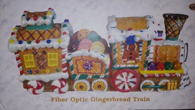 Fiber Optic Gingerbread Train Christmas Holiday Cracker Barrel