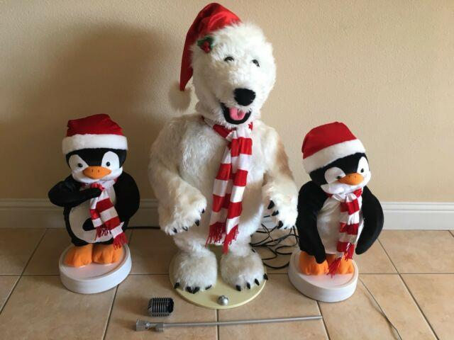Gemmy 2005 Animated 3-piece Band Polar Bear/the Singing Penguins Motion Activate