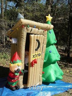GEMMY 6' Animated Santa Outhouse with Elf Christmas Airblown Lighted Inflatable