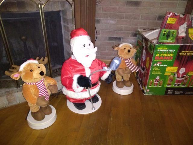 Gemmy Animated Santa & Reindeer 3 Pc Band Set Dancing Singing 36 Tall/box