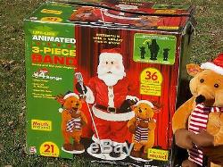 GEMMY Animated Santa & Reindeer 3 Pc Band Set Dancing Singing 36 Tall IN BOX